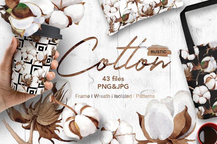 Cotton flowers PNG watercolor set