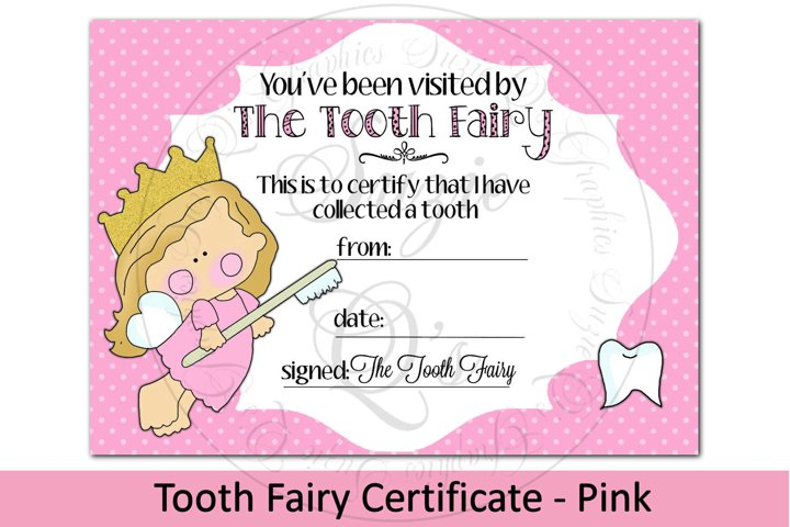 Tooth Fairy Certificate - Pink, 5 x 7 inches