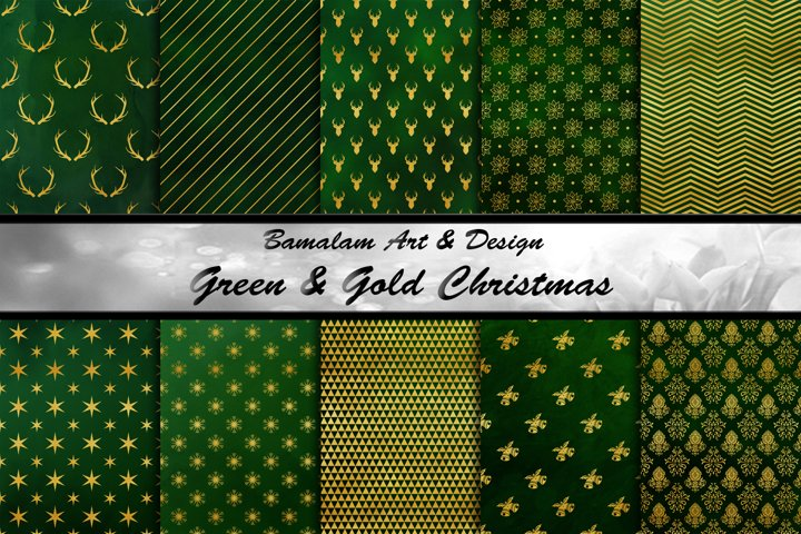 Green & Gold Christmas Backgrounds