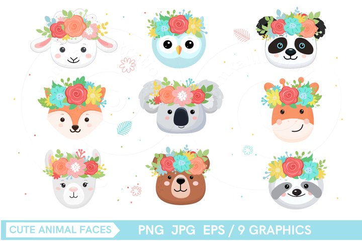Animal faces with flower crown PNG