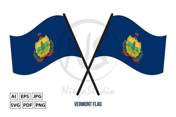 Two Crossed Waving Vermont Flag On Isolated White Background