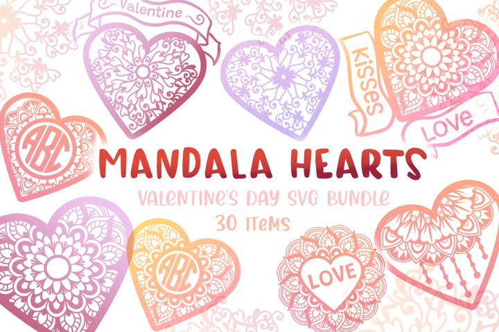 Mandala Hearts Valentines Day Bundle - 30 SVG cut files