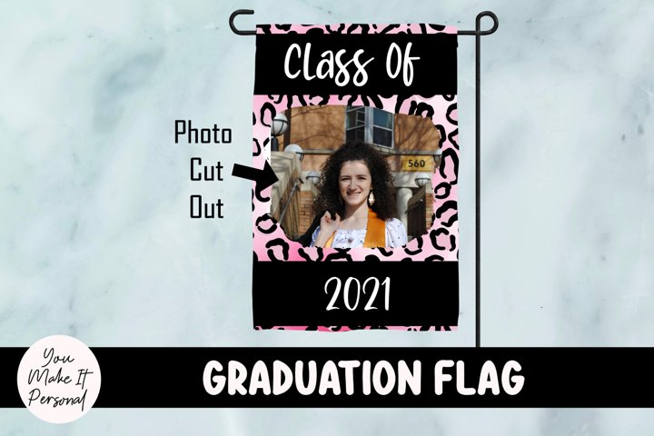 Graduation Garden Flag with Pink Leopard Design