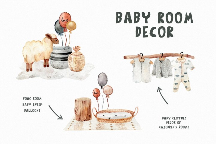 Baby room decor, Kids watercolor boho clipart, animal sheep