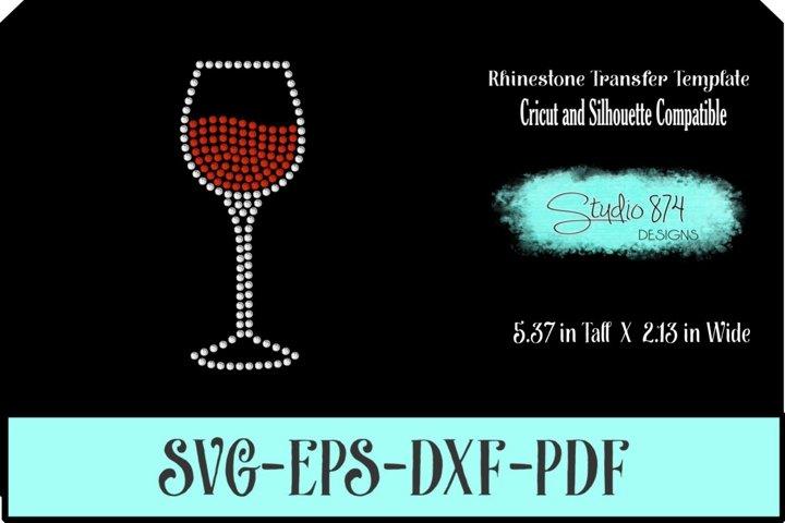 Wine Glass Rhinestone SVG Template R2 - Add ON