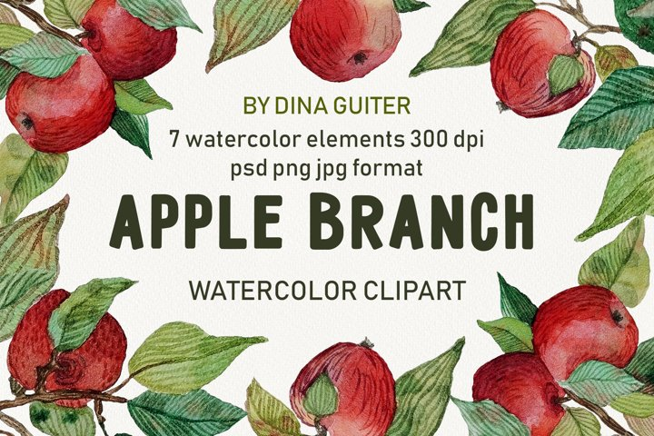 Watercolor red apples fruit clipart. Apple tree PNG