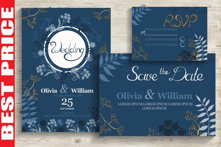 Blue&Gold Wedding Invitation Cards
