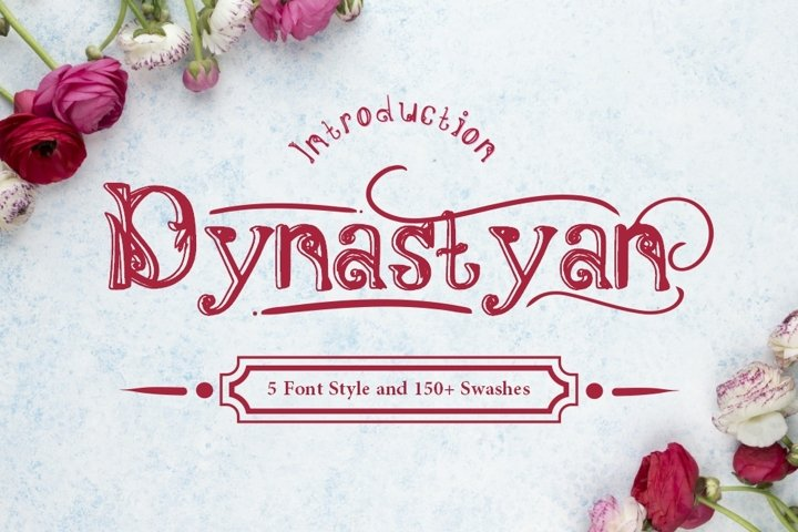 Dynastyan - 5 Font styles and 150 Swashes