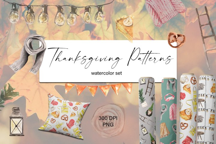 Thanksgiving Watercolor Patterns Set. Digital Papers. PNG