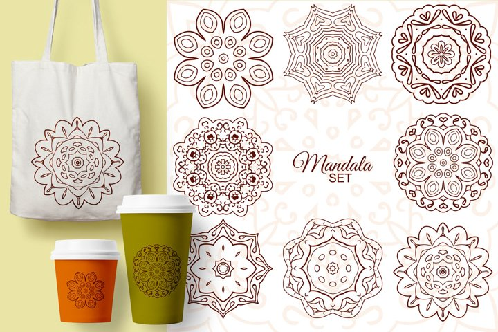 Mandala. Set of round ornaments for creativity. 8 pictures