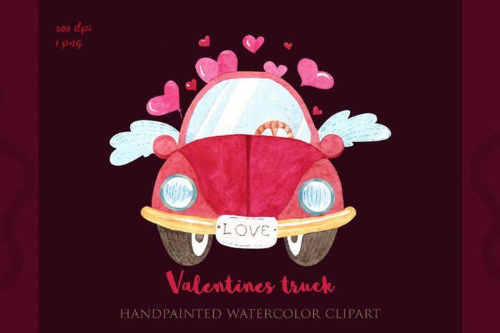 Valentines truck png, watercolor valentines day, sublimation