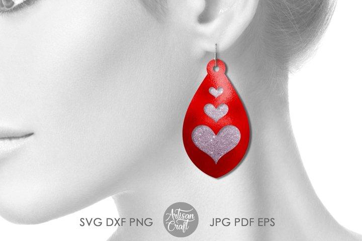 Tear drop earrings SVG, valentines jewelry, heart earrings example 3
