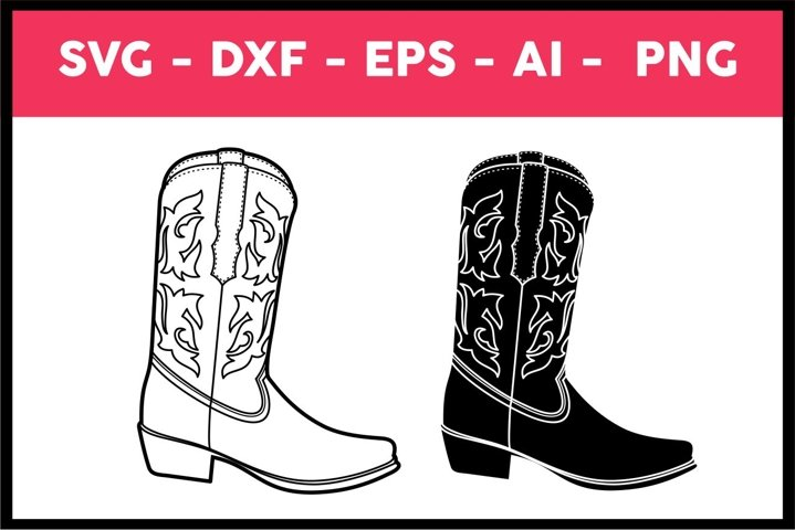 Cowboy Boot Illustration, vector, Svg, Png, Eps, Ai, dxf
