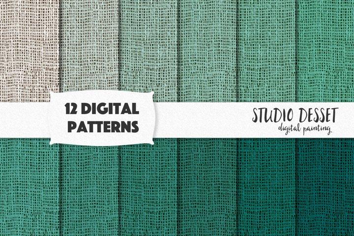 Mint Burlap Digital Papers, Green Linen Patterns
