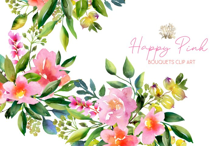 Rustic watercolor bouquets with pink flowers clip art
