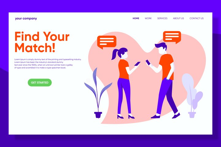 Find Your Match Online Dating Landing Page