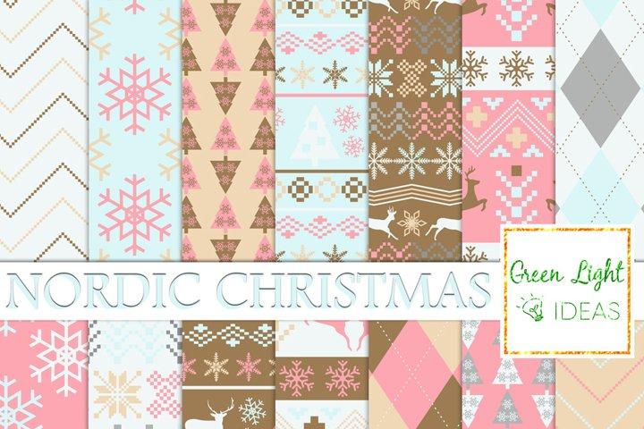 Nordic Christmas Digital Papers, Holidays Backgrounds, Scandinavian Papers