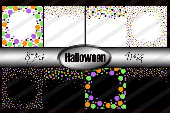Halloween confetti borders png & jpg clipart digital paper