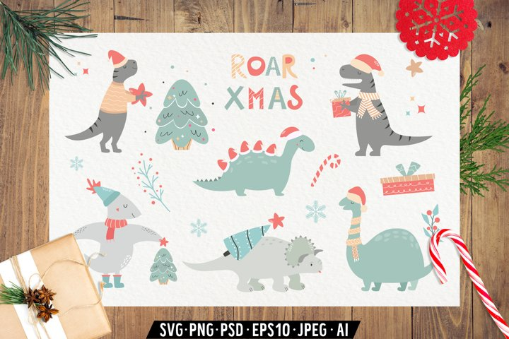 Christmas Dinosaurs. Cute Characters and Seamless Patterns