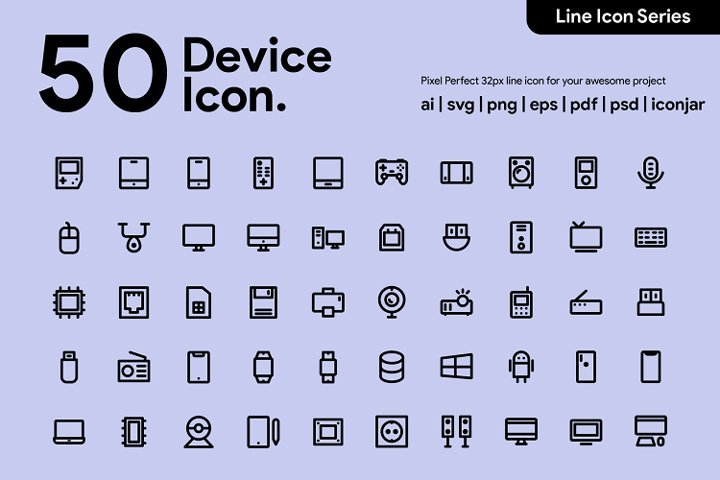 50 Device & Tech Line Icon