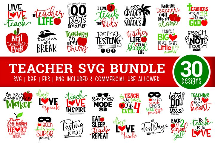 Teacher SVG Bundle for Teacher Appreciation - School Svg