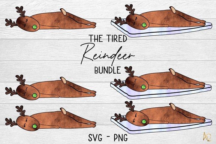 The Tired Reindeer Bundle   Sublimation PNG SVG