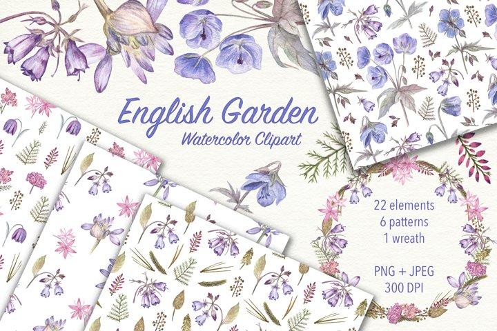 English Garden. Watercolor flowers clipart. JPEG, PNG