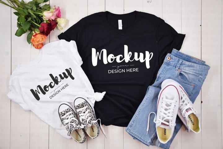 Mommy & Me Summer Shirt Mockup, BC 3100T & 3001 White Black