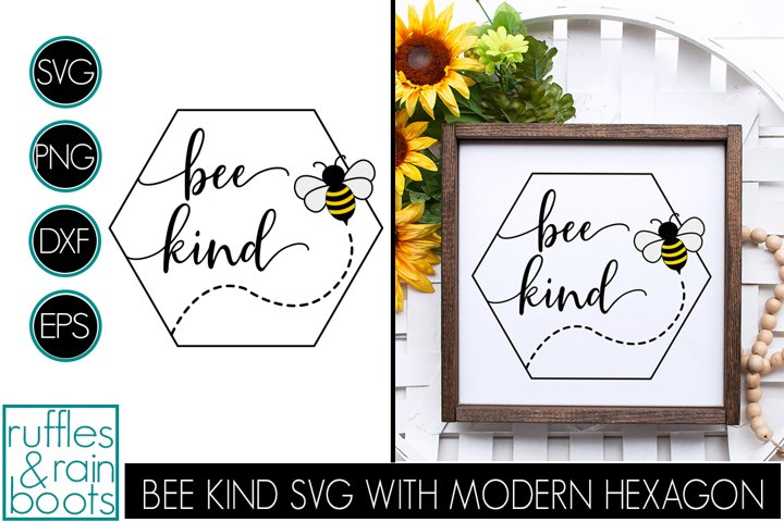 Bee Kind SVG with Bumblebee Hexagon and Lettering Style