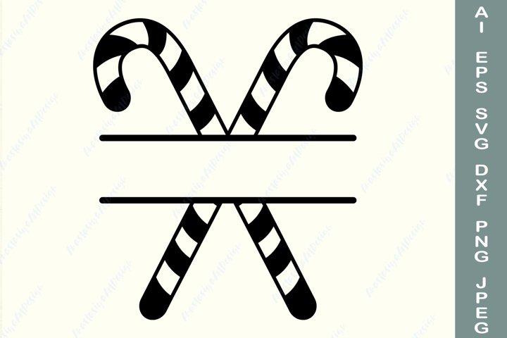Christmas candy cane frame svg, Split monogram svg