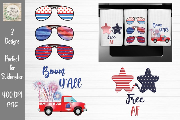 4th of July Bundle, Free AF, Boom YAll, American Flag