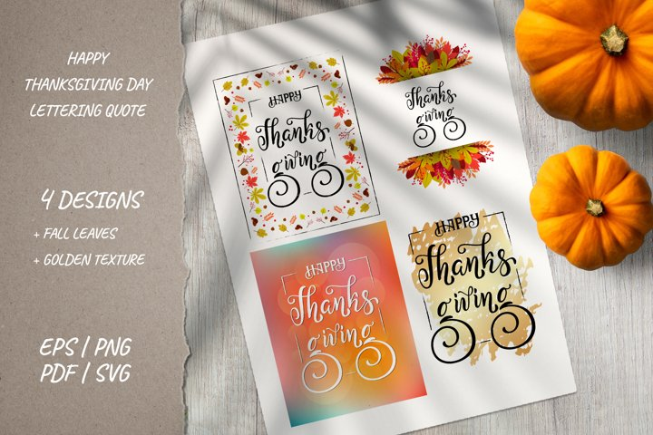 Happy Thanksgiving vertical sign | 4 Fall cards designs