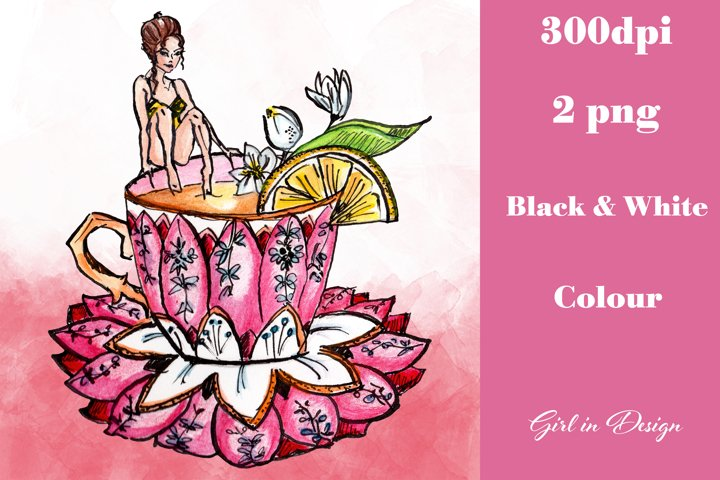 Tea Bath Girl Clipart