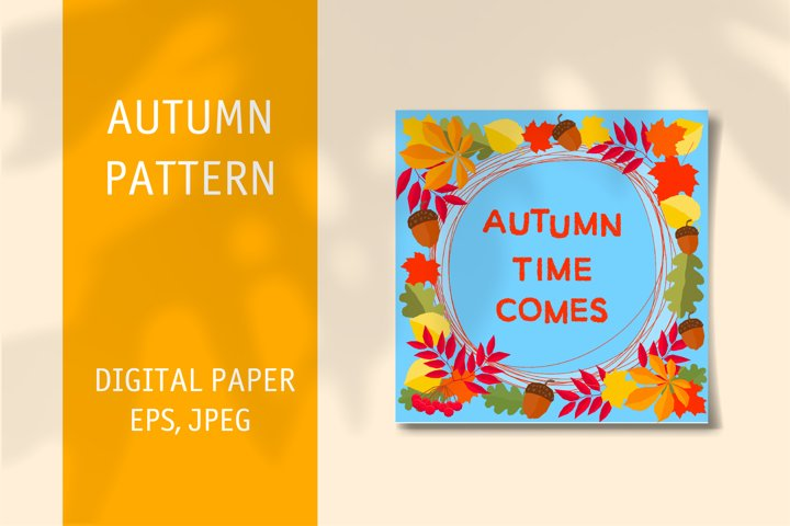 Autumn wall art pattern. Downloadable editable vector.