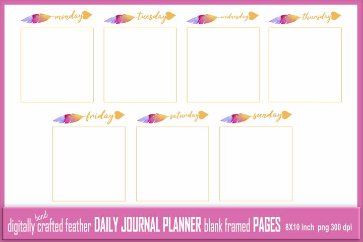 Abstract Feather Daily Journal Planner Framed Blank 7 Pages