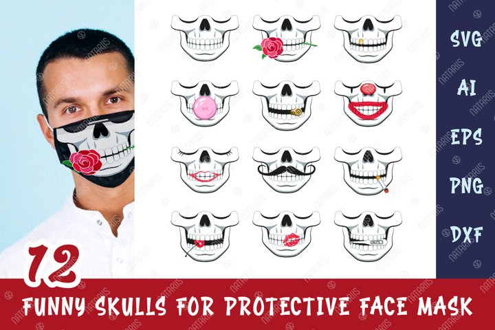 SVG Bundle. 12 Funny skulls for protective face mask.