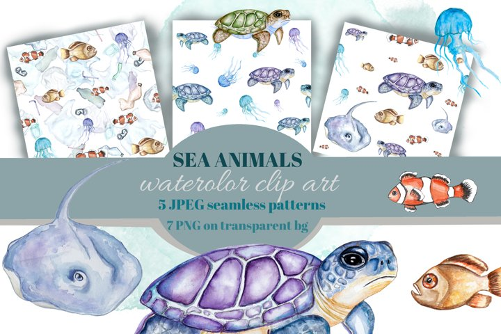 Sea animals. Watercolor clipart. Sublimation fishes. Pattern