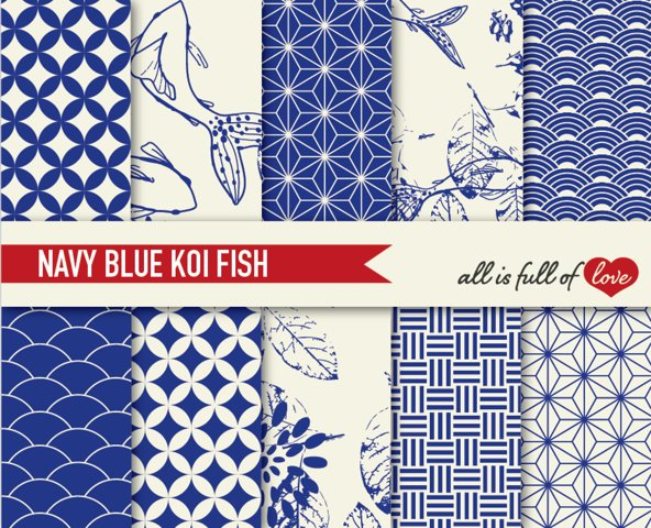 Japanese Backgrounds Navy Blue Digital Graphics