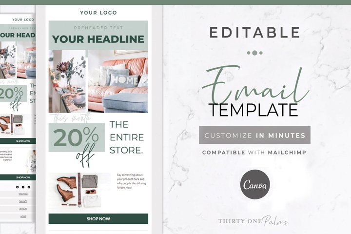 Canva & Mailchimp Template | Green