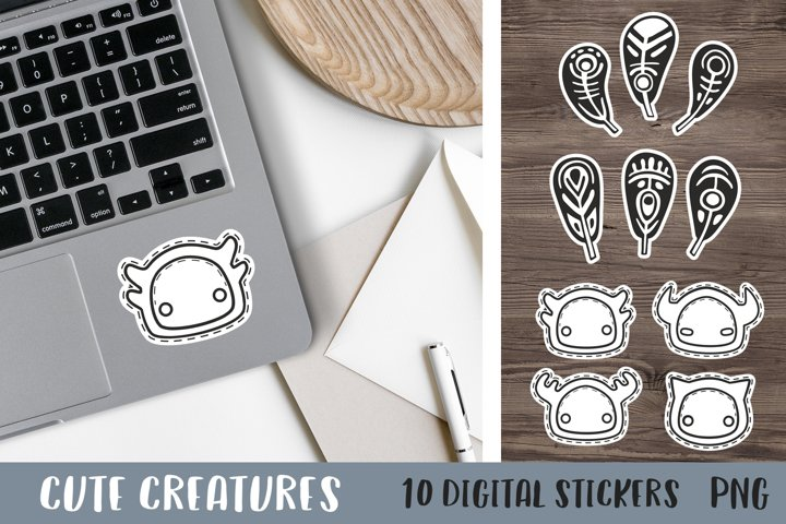 Stickers graphics Digital sticker Cute animals Feathers png