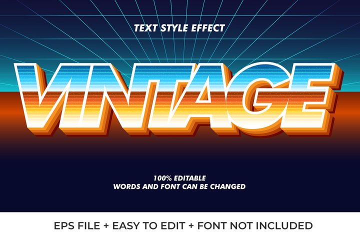 Gradient Vintage Vector Text Effect