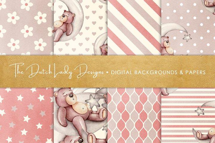 Digital Backgrounds & Papers - Nursery Bear Patterns