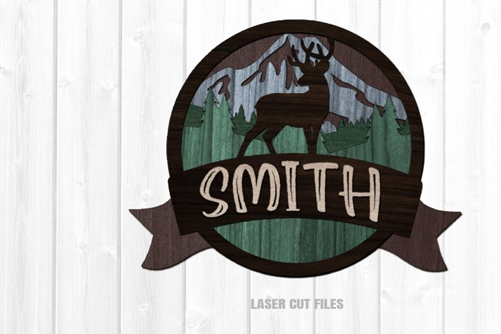 Monogram Deer Forest Round SVG Glowforge Laser Cut Files