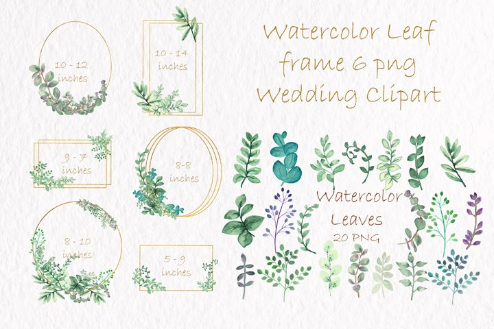 Watercolor Leaves. Gold Frames. Wedding invite card.DIY PNG
