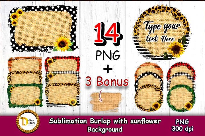 sublimation backgrounds - Burlap with sunflowers backgrounds