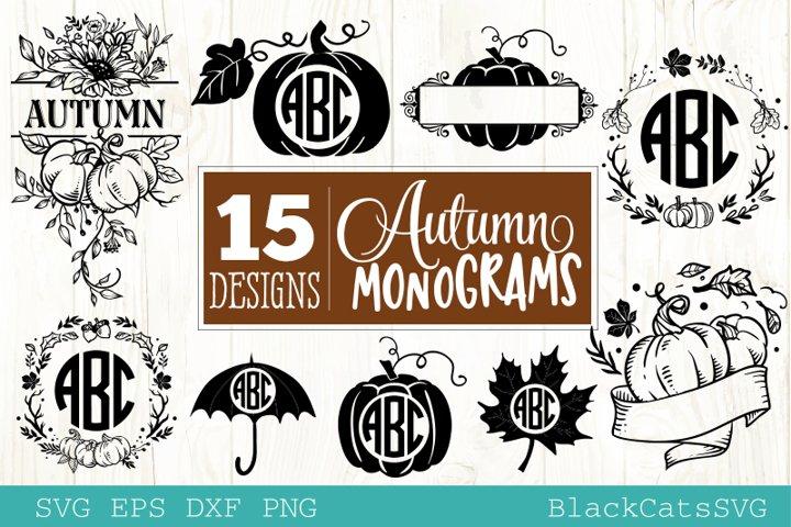 Autumn monograms SVG bundle 15 designs Fall and pumpkins SVG