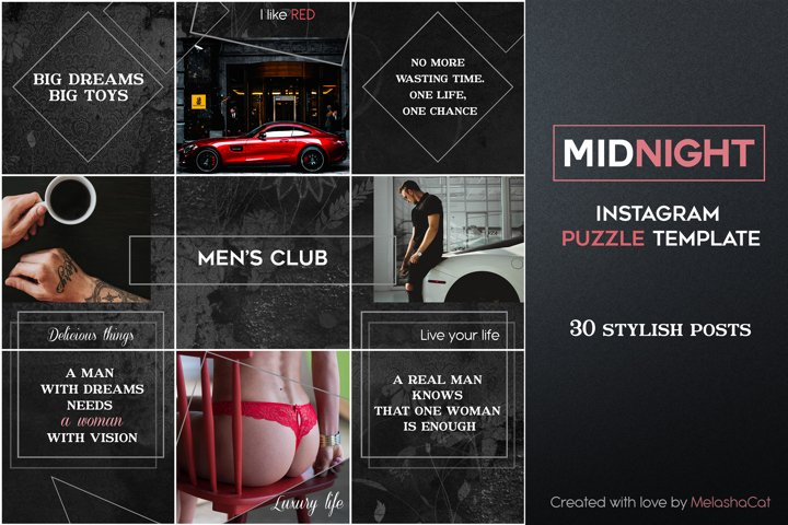 Midnight Instagram PUZZLE Template - 30 Instagram posts