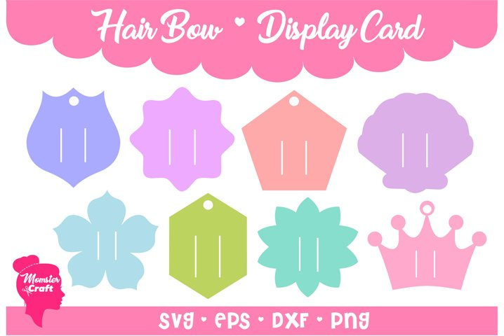 Hair Bow Clip Display Card 01 - Bundle of 8 style and 3 size