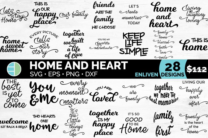 Family SVG Quotes Bundle | Home and Heart