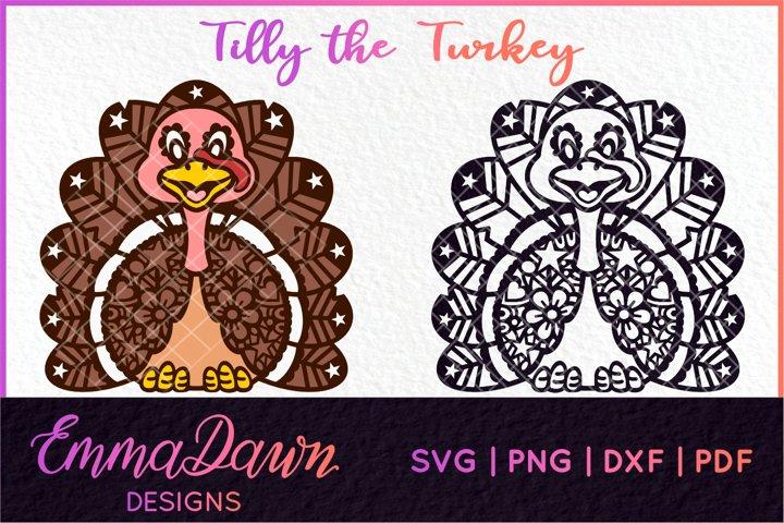 TILLY THE TURKEY SVG THANKSGIVING MANDALA ZENTANGLE DESIGNS